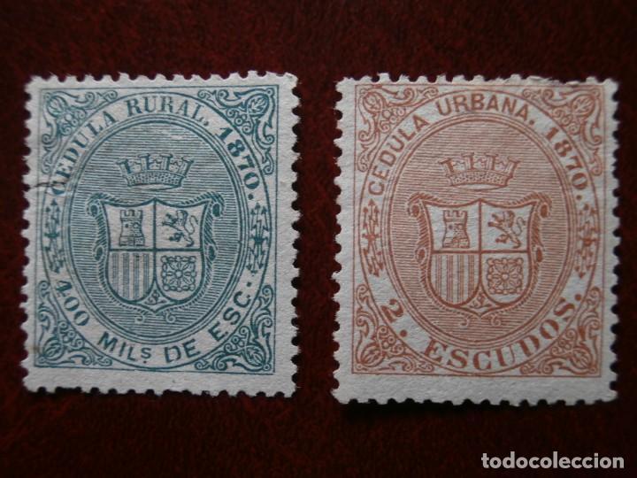 ANTILLAS - CUBA 1870 - 2 SELLOS CEDULA URBANA - 400 MILESIMAS DE ESCUDO Y 2 ESCUDOS NUEVOS -. (Sellos - España - Colonias Españolas y Dependencias - América - Cuba)