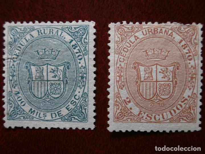 Sellos: ANTILLAS - CUBA 1870 - 2 SELLOS CEDULA URBANA - 400 MILESIMAS DE ESCUDO Y 2 ESCUDOS NUEVOS -. - Foto 3 - 235124410