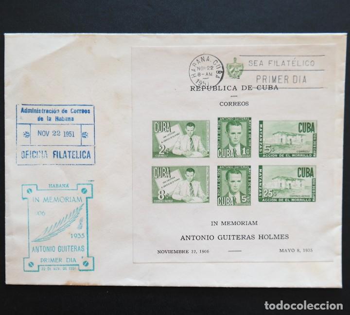 CUBA 1951. SOBRE PRIMER DÍA. 16 ANIVERSARIO MUERTE ANTONIO GUITERAS HOLMES (Sellos - España - Colonias Españolas y Dependencias - América - Cuba)