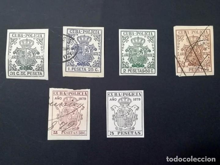 1878-1879, CUBA, 6 SELLOS POLICÍA (Sellos - España - Colonias Españolas y Dependencias - América - Cuba)