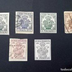 Sellos: 1878-1879, CUBA, 6 SELLOS POLICÍA. Lote 236167010