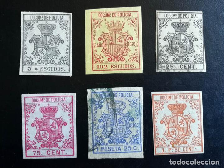 1865-1876, CUBA, 6 SELLOS POLICÍA (Sellos - España - Colonias Españolas y Dependencias - América - Cuba)