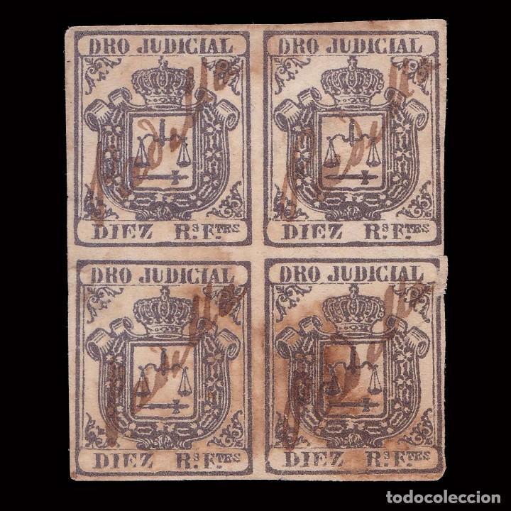 FISCAL.1856-64.COLONIAS ESPAÑA.10R FUERTES.BLQ4. USADO (Sellos - España - Colonias Españolas y Dependencias - América - Cuba)