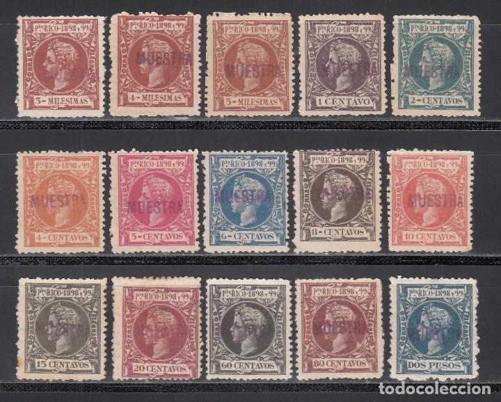 PUERTO RICO, 1898 LOTE DE SELLOS CON SOBRECARGA *MUESTRA*, 15 VALORES. (Sellos - España - Colonias Españolas y Dependencias - América - Puerto Rico)