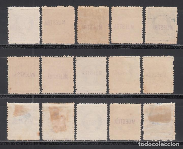 Sellos: PUERTO RICO, 1898 Lote de sellos con sobrecarga *MUESTRA*, 15 valores. - Foto 2 - 240352275