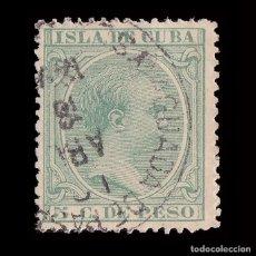 Sellos: CUBA.1891-92.ALFONSO XIII.5CT.MATASELLO AGUADA DE PASAJEROS.EDIFIL.127. Lote 241023345