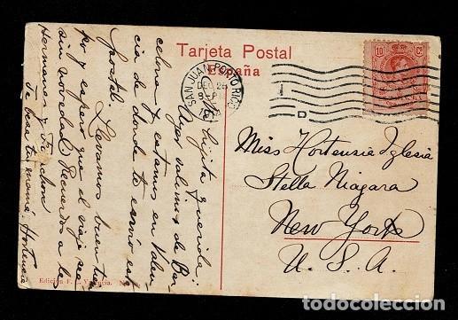 Sellos: C10-3-27 Postal circulada en SAN JUAN PORTO RICO a NEW YORK, con sello de franqueo ESPAÑOL de Alfon - Foto 2 - 244624425