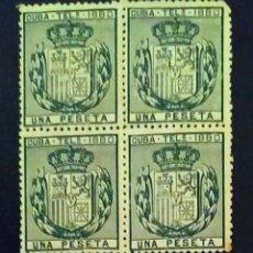 Sellos: CUBA. TELÉGRAFOS. AÑO 1880. BLOQUE DE 4. Lote 260435080