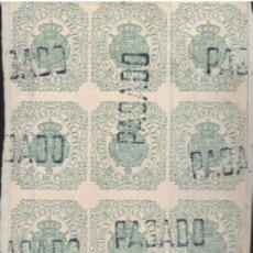 Sellos: FILIPINAS SELLO FISCAL DE RECIBOS Y CUENTAS 10C.DE PESO BLOQUE DE 15 EJEMPLARES. Lote 270169118