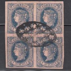 Sellos: CUBA, 1864 EDIFIL Nº ANT. 11, BLOQUE DE CUATRO.. Lote 276923923
