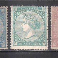 Sellos: ANTILLAS, 1868 EDIFIL Nº 13, 14, 15, /*/. Lote 276927653