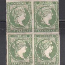Sellos: ANTILLAS. 1857 EDIFIL Nº 8 **/*, BLOQUE DE CUATRO. Lote 276956568