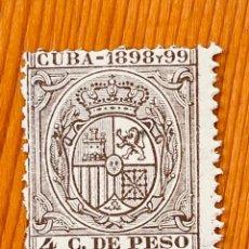 Sellos: CUBA, 1898-99, ESCUDO DE ESPAÑA, 4 CT. DE PESO, NUEVO. Lote 286933173