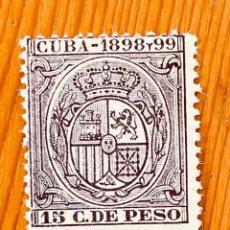 Sellos: CUBA, 1898-99, ESCUDO DE ESPAÑA, 15 CT. DE PESO, NUEVO. Lote 286933333