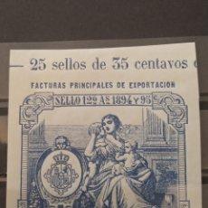 Sellos: ESPAÑA. 1894. PUERTO RICO FISCAL. EXPORTACIÓN. NUEVO **. Lote 287433748