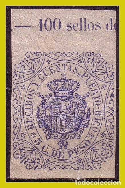 PUERTO RICO FISCAL, RECIBOS Y CUENTAS, 5 C. DE PESO AZUL * * (Sellos - España - Colonias Españolas y Dependencias - América - Puerto Rico)