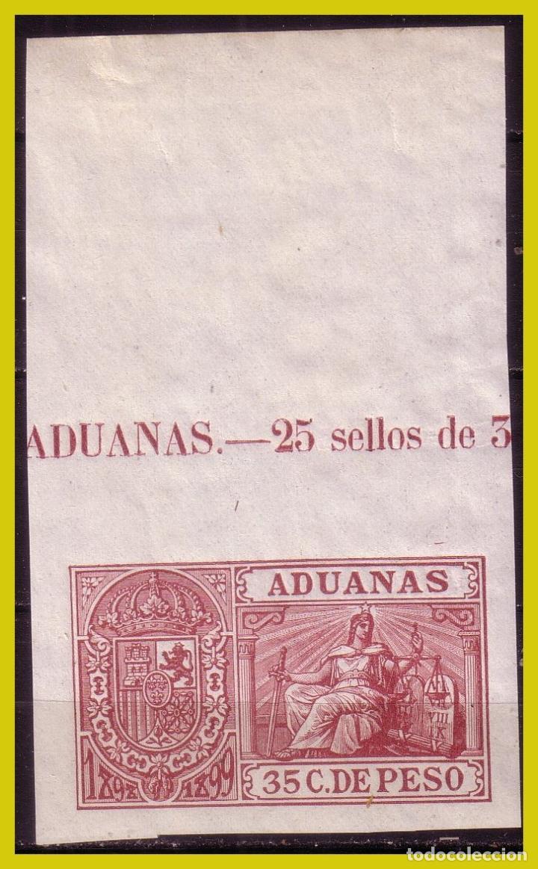 PUERTO RICO FISCAL, ADUANAS, 35 C. DE PESO CASTAÑO CARMINADO * * (Sellos - España - Colonias Españolas y Dependencias - América - Puerto Rico)