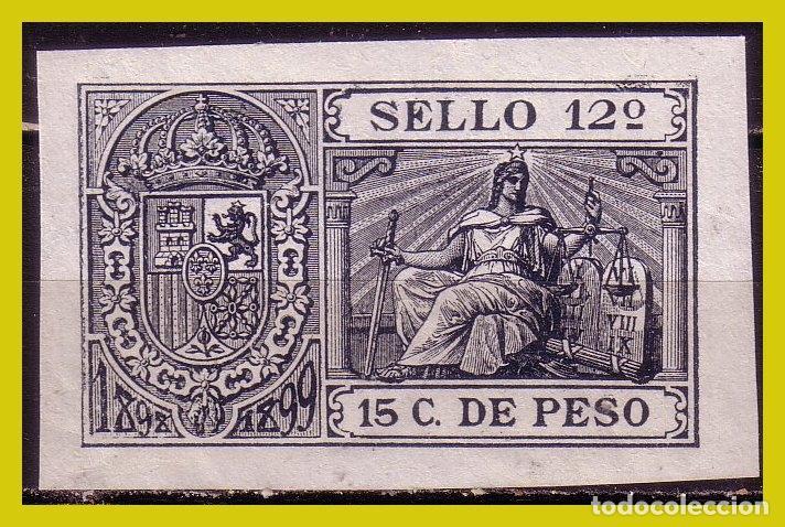 PUERTO RICO FISCAL, 15 C. DE PESO, SELLO 12º * * (Sellos - España - Colonias Españolas y Dependencias - América - Puerto Rico)