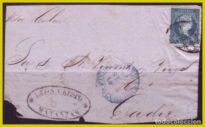 CUBA 1856 FRONTAL DE CARTA DE MATANZAS A CÁDIZ CON SELLO Nº 4 (O) (Sellos - España - Colonias Españolas y Dependencias - América - Cuba)