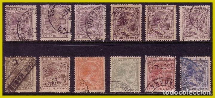 CUBA 1891 ALFONSO XIII, EDIFIL Nº 118 A 129 (O) COMPLETA (Sellos - España - Colonias Españolas y Dependencias - América - Cuba)