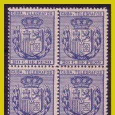 Sellos: CUBA TELÉGRAFOS 1894 ESCUDO DE ESPAÑA, EDIFIL Nº 79 B4 * *. Lote 288388003