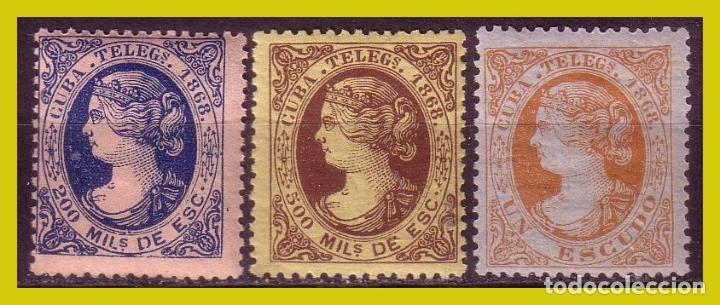 CUBA TELÉGRAFOS 1868 ISABEL II, EDIFIL Nº 1 Y 2 * *, 3 * (Sellos - España - Colonias Españolas y Dependencias - América - Cuba)