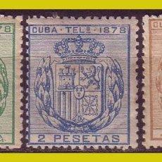 Sellos: CUBA TELÉGRAFOS 1875 ESCUDO DE ESPAÑA, EDIFIL Nº 32 A 34 * *. Lote 288388273