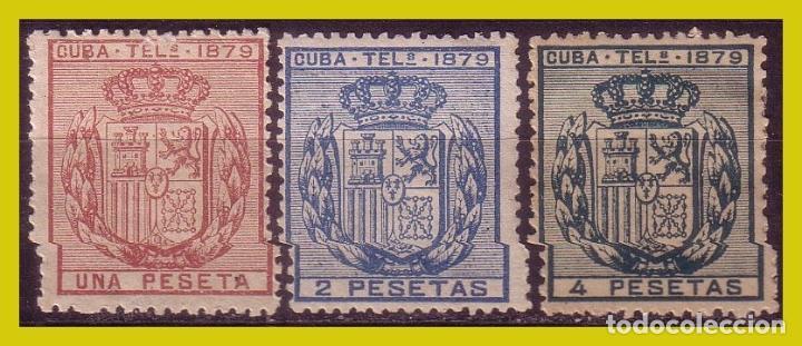 CUBA TELÉGRAFOS 1879 ESCUDO DE ESPAÑA, EDIFIL Nº 46 A 48 * * / * (Sellos - España - Colonias Españolas y Dependencias - América - Cuba)