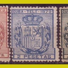 Sellos: CUBA TELÉGRAFOS 1879 ESCUDO DE ESPAÑA, EDIFIL Nº 46 A 48 * * / *. Lote 288388493