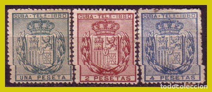 CUBA TELÉGRAFOS 1879 ESCUDO DE ESPAÑA, EDIFIL Nº 49 A 51 * * / * (Sellos - España - Colonias Españolas y Dependencias - América - Cuba)