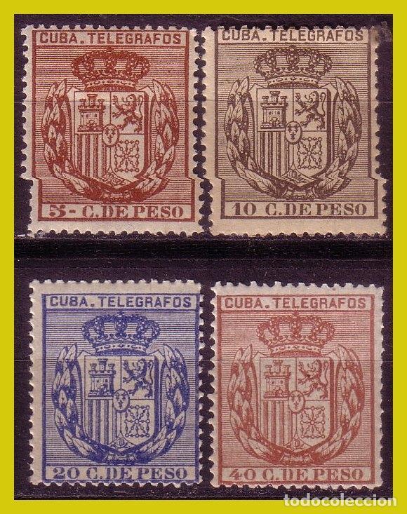 CUBA TELÉGRAFOS 1894 ESCUDO DE ESPAÑA, EDIFIL Nº 77 A 80 * * / * (Sellos - España - Colonias Españolas y Dependencias - América - Cuba)
