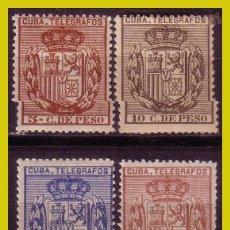 Sellos: CUBA TELÉGRAFOS 1894 ESCUDO DE ESPAÑA, EDIFIL Nº 77 A 80 * * / *. Lote 288389113