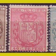 Sellos: CUBA TELÉGRAFOS 1881 ESCUDO DE ESPAÑA, EDIFIL Nº 52 A 54 * * / *. Lote 288389198