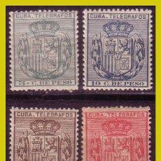Sellos: CUBA TELÉGRAFOS 1896 ESCUDO DE ESPAÑA, EDIFIL Nº 81 A 84 * * / *. Lote 288389283