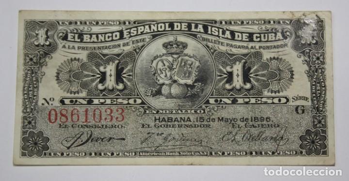 300,, BILLETE DEL BANCO ESPAÑOL EN LA ISLA DE CUBA DE 1 PESO DEL AÑO 189 MBC (Sellos - España - Colonias Españolas y Dependencias - América - Cuba)