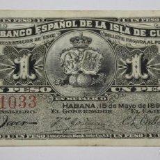 Sellos: 300,, BILLETE DEL BANCO ESPAÑOL EN LA ISLA DE CUBA DE 1 PESO DEL AÑO 189 MBC. Lote 289244408