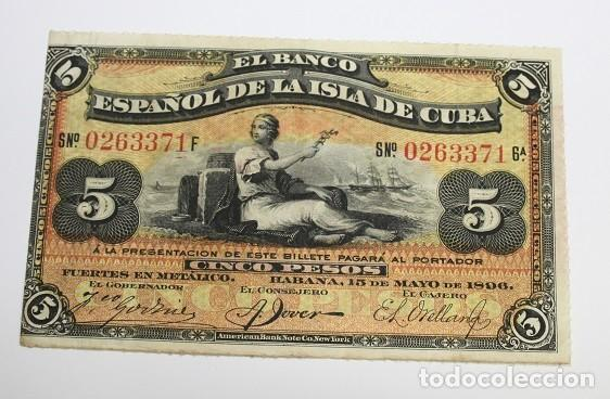 247,, BILLETE DE 5 PESOS, EL BANCO ESPAÑOL DE LA ISLA DE CUBA DEL 15 MAYO 1896, CUÑO PLATA. MBC (Sellos - España - Colonias Españolas y Dependencias - América - Cuba)