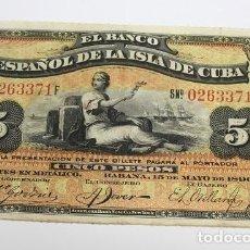 Sellos: 247,, BILLETE DE 5 PESOS, EL BANCO ESPAÑOL DE LA ISLA DE CUBA DEL 15 MAYO 1896, CUÑO PLATA. MBC. Lote 289250428