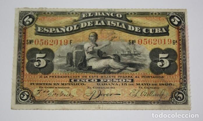 172,, BILLETE DE 5 PESOS, EL BANCO ESPAÑOL DE LA ISLA DE CUBA DEL 15 MAYO 1896, CUÑO PLATA. MBC (Sellos - España - Colonias Españolas y Dependencias - América - Cuba)