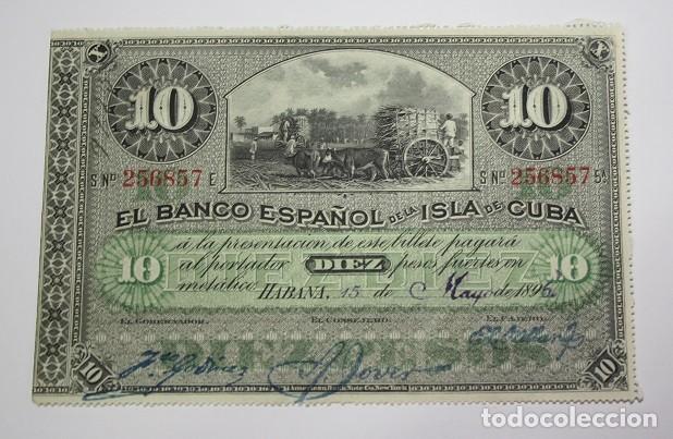 250,, BILLETE 10 PESOS, HABANA 15 MAYO 1896, BANCO ESPAÑOL DE LA ISLA DE CUBA. S/C. (Sellos - España - Colonias Españolas y Dependencias - América - Cuba)