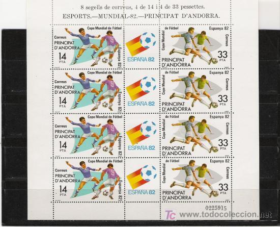 HOJA BLOQUE DE EL MUNDIAL DEL 82 DE ANDORRA ESPAÑOLA (Sellos - España - Dependencias Postales - Andorra Española)