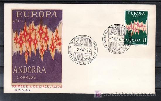ANDORRA ESPAÑOLA .72 PRIMER DIA, TEMA EUROPA 1972, (Sellos - España - Dependencias Postales - Andorra Española)