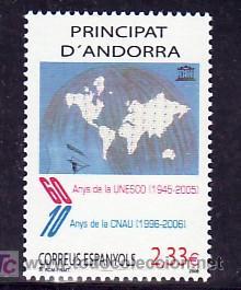 .ANDORRA ESPAÑOLA 341 SIN CHARNELA, 60 AÑOS DE LA U.N.E.S.C.O. Y 10 AÑOS DE LA CNAU, (Sellos - España - Dependencias Postales - Andorra Española)