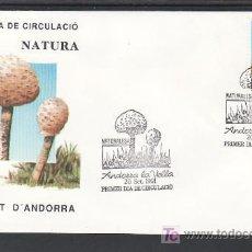 Francobolli: .ANDORRA ESPAÑOLA 227 PRIMER DIA, SETAS, NATURALEZA, . Lote 9681918