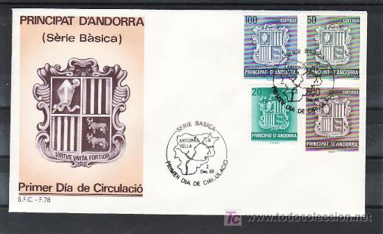 .ANDORRA ESPAÑOLA 209/12 PRIMER DIA, ESCUDO DE ANDORRA, (Sellos - España - Dependencias Postales - Andorra Española)