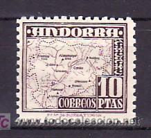 .ANDORRA ESPAÑOLA .57 SIN CHARNELA, MAPA DEL PRINCIPADO (Sellos - España - Dependencias Postales - Andorra Española)