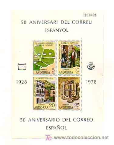 50 ANIVERSARIO DEL CORREO ESPAÑOL. 1928 - 1978. ANDORRA. 4 VALORES. (Sellos - España - Dependencias Postales - Andorra Española)