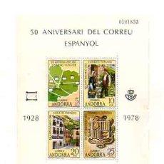 Sellos: 50 ANIVERSARIO DEL CORREO ESPAÑOL. 1928 - 1978. ANDORRA. 4 VALORES.. Lote 18957235