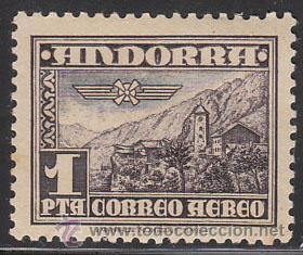 ANDORRA EDIFIL Nº 059, AEREO, IGLESIA DE ANDORRA LA VIEJA, NUEVO CON MUY LIGERA SEÑAL DE CHARNELA (Sellos - España - Dependencias Postales - Andorra Española)