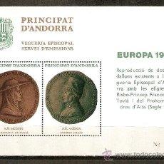 Sellos: ANDORRA VEGUERIA EPISCOPAL HOJA EUROPA 1980 NUEVA. Lote 70358834